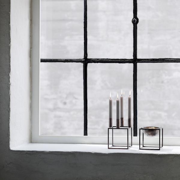 Kubus Bowl Small von by Lassen. Kerzenständer aus verkupferten Stahl in der Farbe Kupfer brüniert
