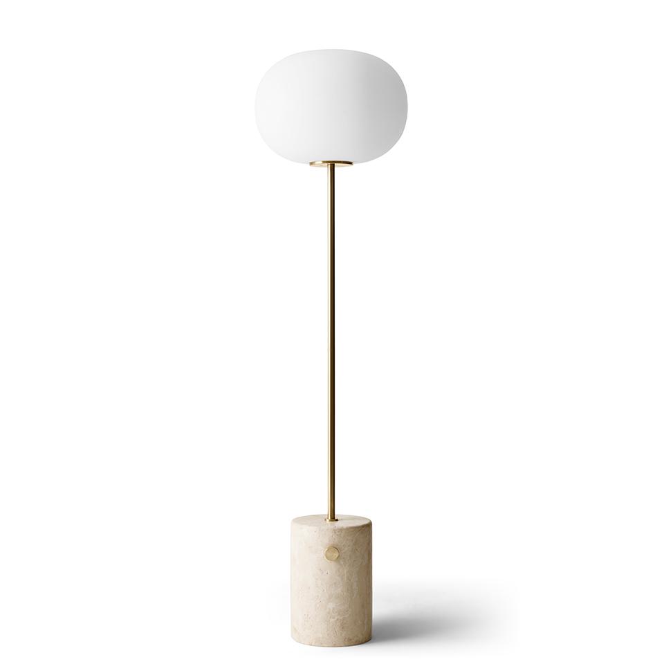 JWDA Floor Lamp von Menu. Stehleuchte aus Travertin und Messing in der Farbe Beige