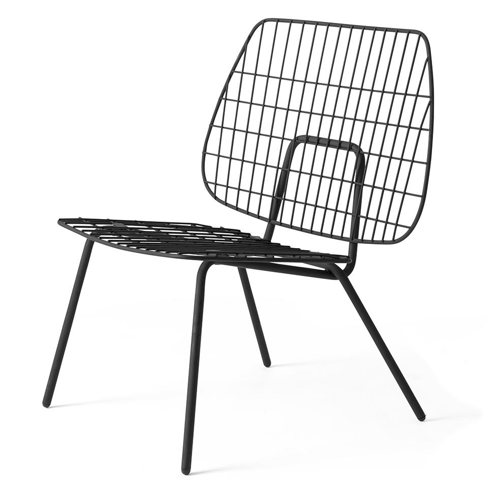 WM String Lounge Chair von Menu. Sessel aus Stahl in der Farbe Schwarz