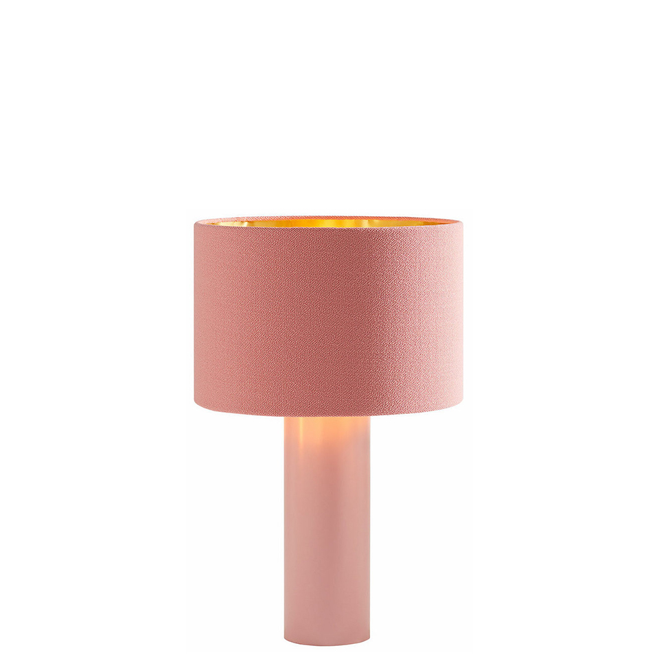 All Round von Victor Foxtrot. Tischleuchte aus Stahl und Stoff in der Farbe Rosa