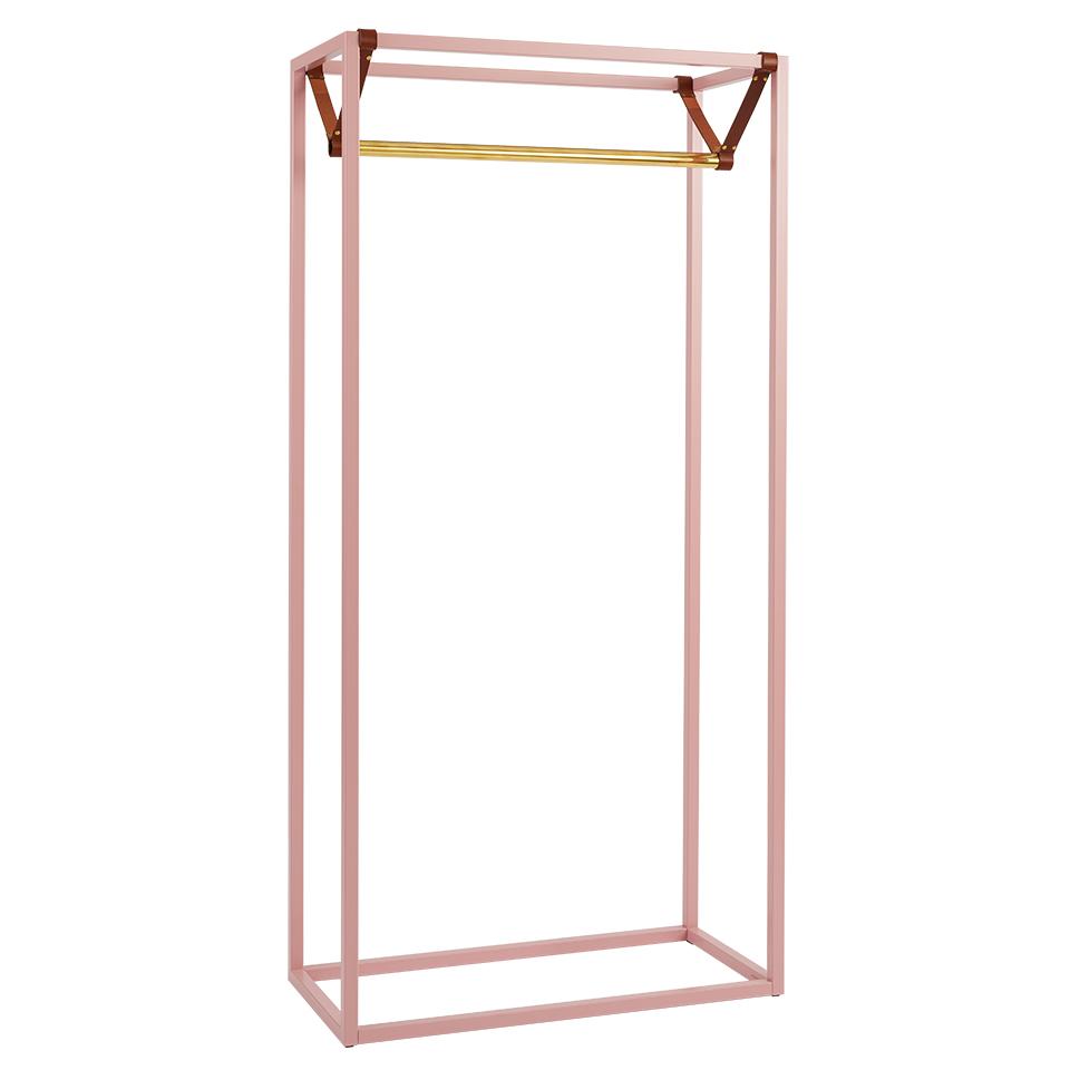 Less Mess von Victor Foxtrot. Garderobe aus Stahl, Messing und Leder in der Farbe Rosa