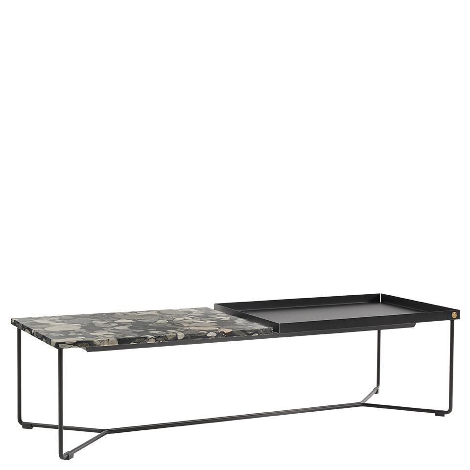 POI Table Double Nero Marinace von Victor Foxtrot. Beistelltisch aus Stahl und Stein in der Farbe Schwarz