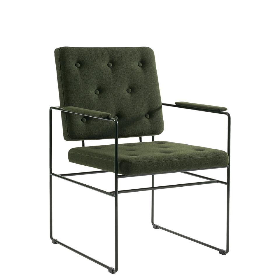 Swell Time von Victor Foxtrot. Stuhl aus Stahl und Stoff in der Farbe Dunkelgrün