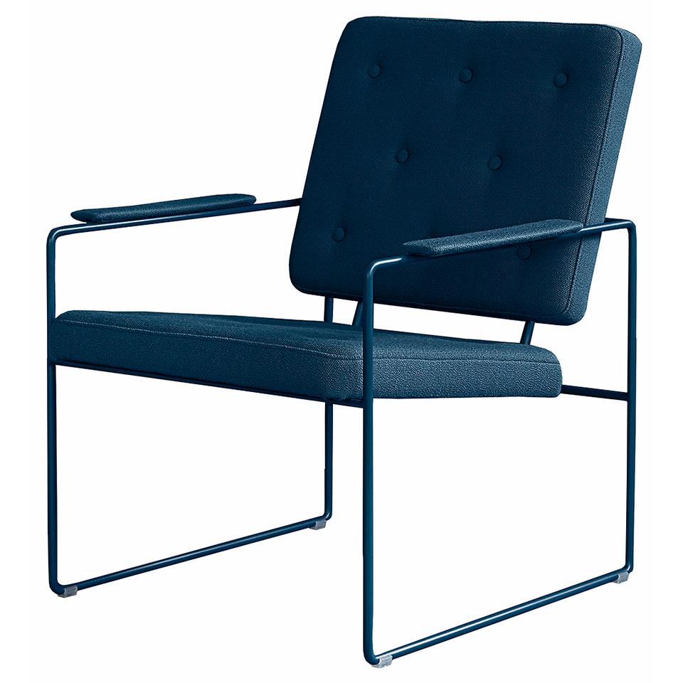 Swell Time Lounge Chair von Victor Foxtrot. Stuhl aus Stahl und Stoff in der Farbe Petrol