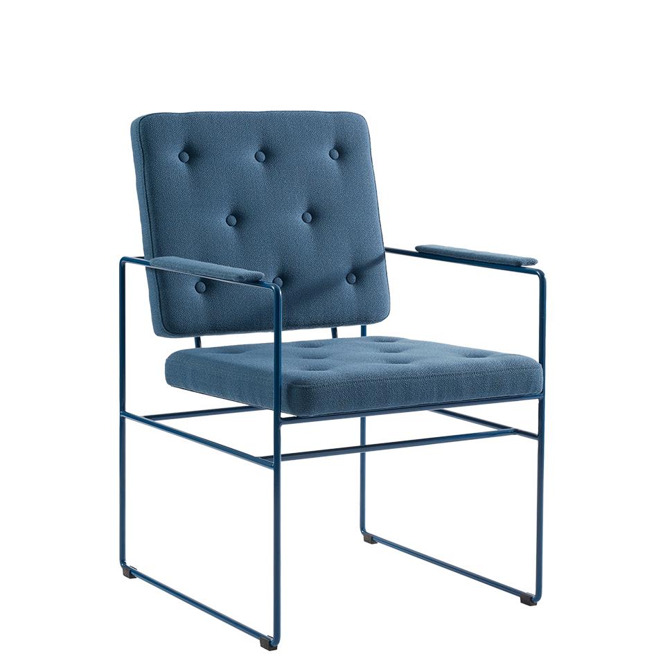 Swell Time von Victor Foxtrot. Stuhl aus Stahl und Stoff in der Farbe Petrol